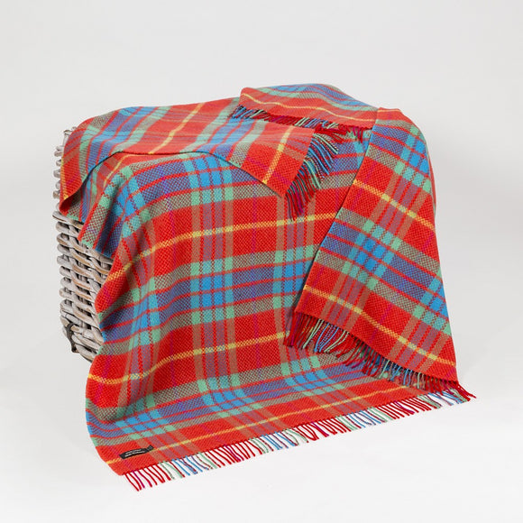 Bright Red, Green & Turquoise Cashmere Throw