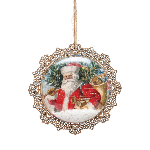 Retro Santa Flat Bauble