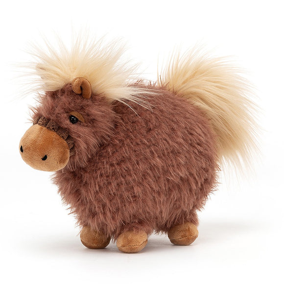 A soft, fluffy, brown, almost round toy horse. It has small legs and cream tufts of hair for its mane and tail.