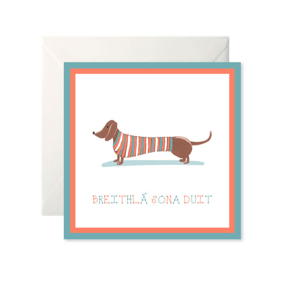 A white card with a drawing of a sausage dog wearing a striped top of orange, teal and white. Below in the same colours is 'Breithlá sona duit' in capital letters.