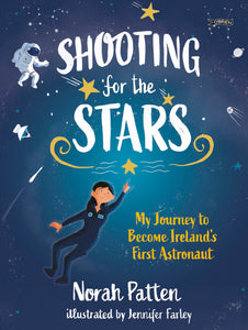 A navy cover where the title takes up the top half in white letters. It is surrounded by stars and an astronaut. Below is a woman reaching for a star.