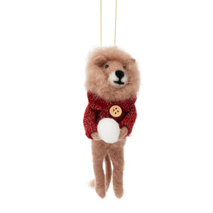 Snowball Lion Hanging Felt Decoration