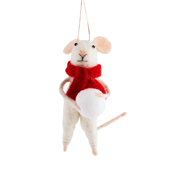 Snowball Mouse Hanging Felt Decoration