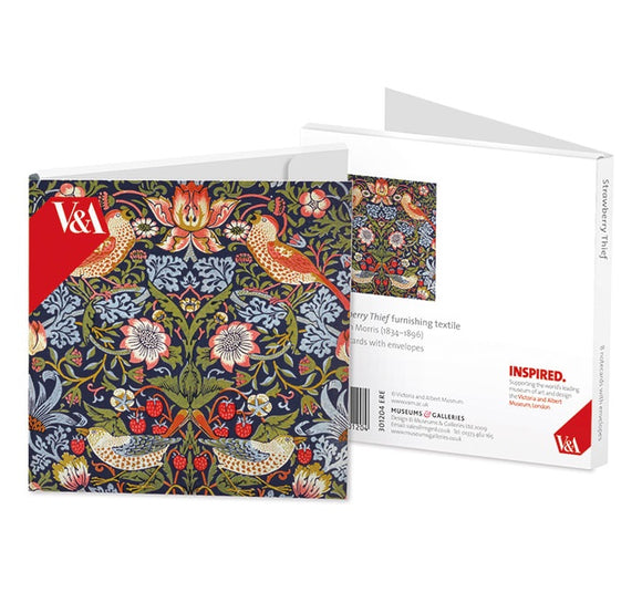 A note card wallet with a repeated pattern of an illustration of birds in green and blue leaves with flowers and red strawberries. The V&A logo is in the top left in red. The box itself is white and opens in half like a book.