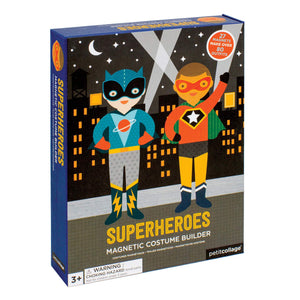 A blue box with a flat illustration style on the front. Two superheroes in costume stand in front of a city at night with spotlights in the sky.
