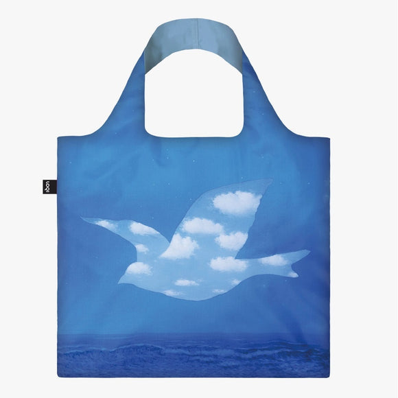 A square bag with the outline of a large bird, filled in with a cloudy blue sky, in the centre flying against a dark blue sky over the ocean. The handle lining is a matching pale blue.