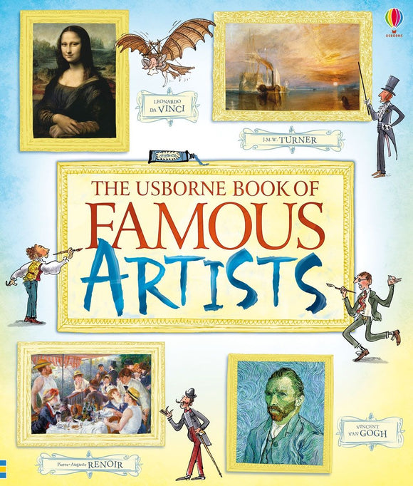 A blue and yellow cover with different famous paintings in drawn frames around the sides. In the centre is a frame with the title in red and blue.