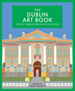 A colourful, stylised illustration of the front of Trinity College. The title is in a green box at the top centre in thin, white capital letters.