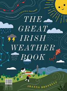 A navy cover with the title down the centre in white capital letters. Around it are different flat illustrations of the weather including, a smiling dun, rain clouds, lightening, and a woman walking through a windy field across the bottom.