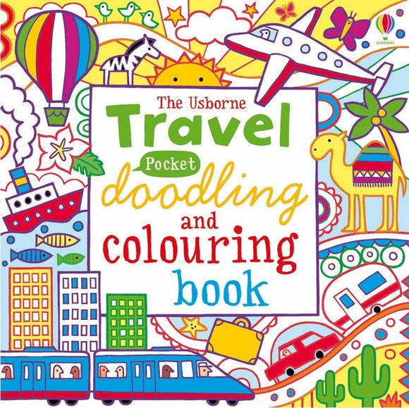 The title is in a white box in the centre, with each word a different colour and font. The rest of the cover is filled with different colourful drawings of transport including a plane, caravan, train and hot air balloon.