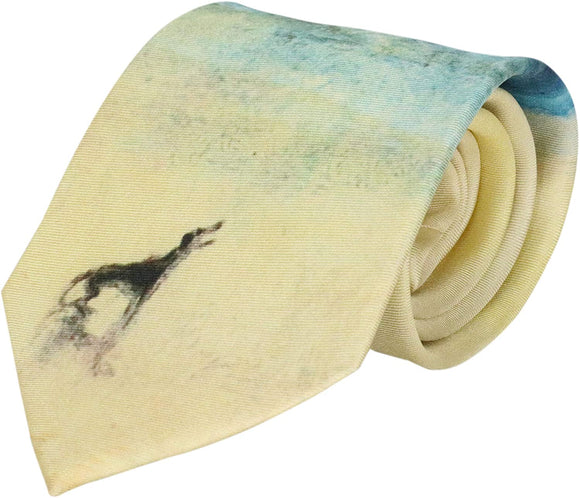 A partially rolled up pale yellow tie. At the bottom is a simple black dog looking out to sea.