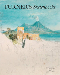 A scene of buildings in a town overlooking a bay with a smoking volcano in the background. It is half finished with the top half painted in watercolour and the bottom half a sketched outline. The title of the book stretches across the top.