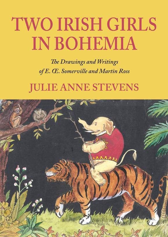 The cover is split in two. The bottom is an illustration of an elephant in a red coat riding a tiger in a jungle. The top is yellow with the title in red capital letters.