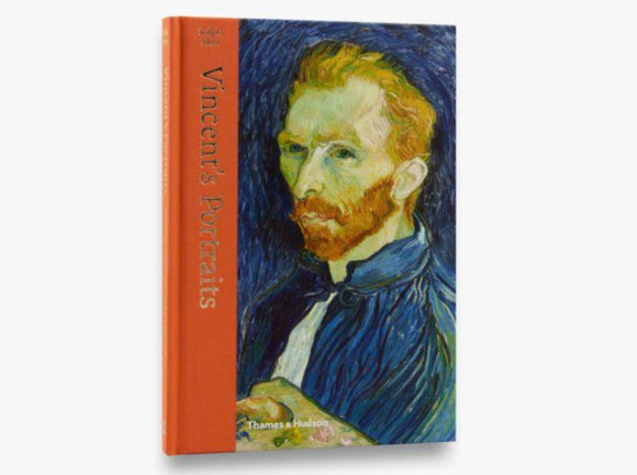 A painted portrait of a man with a ginger beard and hair, van Gogh, against a blue background.  The title is in gold letters vertically down the left side in an orange bar that wraps round onto the binding.