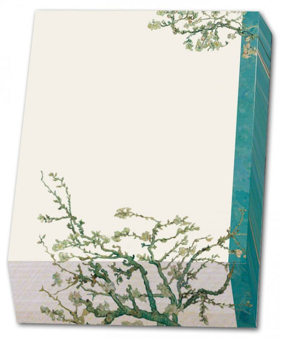 A rectangular noteblock with a painting of tree branches with white flowers at the bottom, and smaller at the top. A blue stripe is along the right side. The noteblock is angled downwards at the bottom creating a slope.