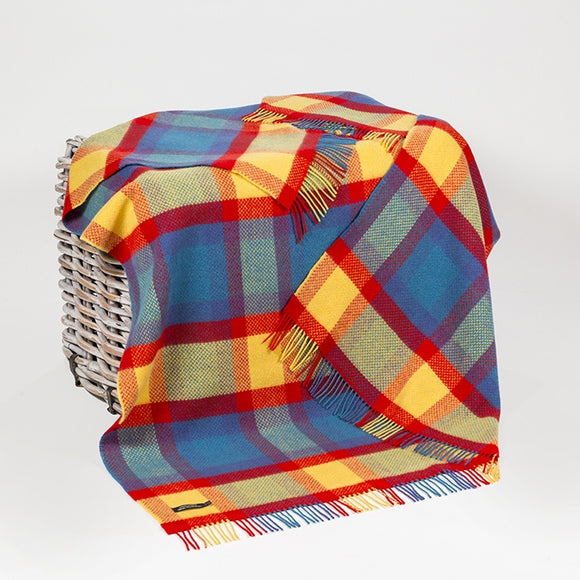 Bright Blue, Red & Yellow Cashmere Throw