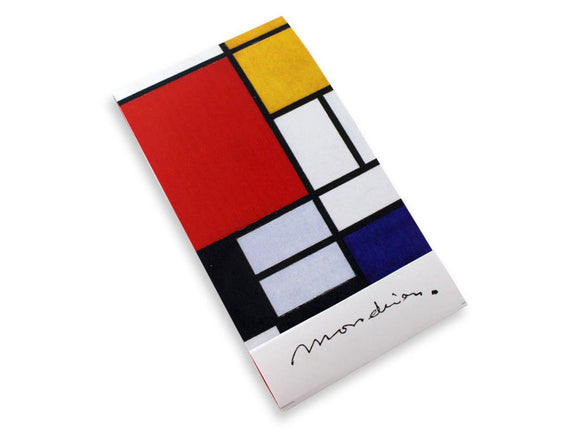 A small rectangular notebook with a design of white, red, blue, black and grey squares separated by black lines. The bottom part of the notebook is white with Mondrian's signature in black.
