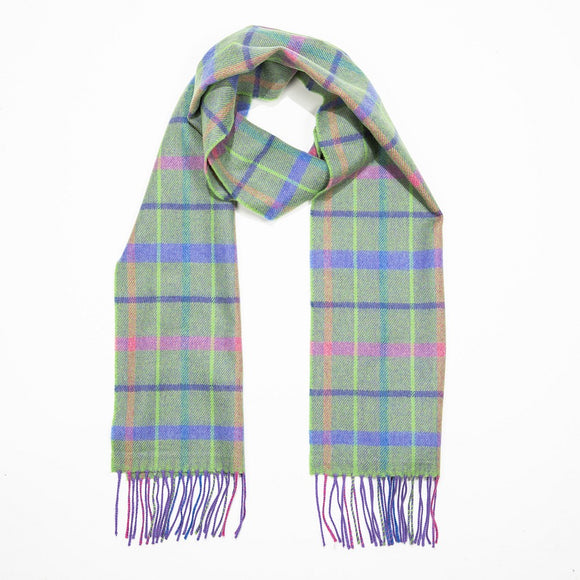 Green, Purple & Pink Check Merino Scarf