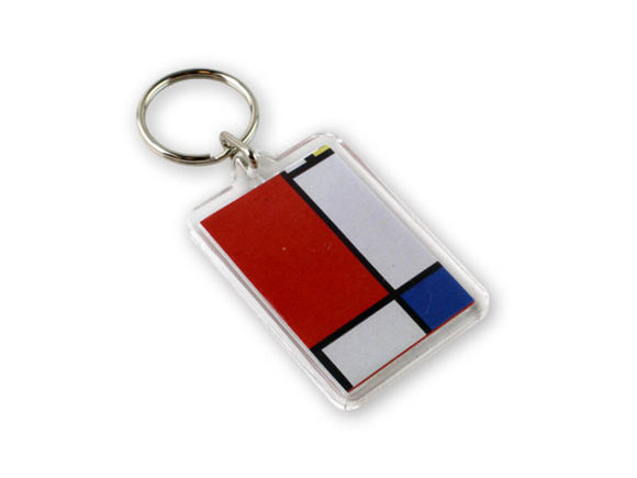 A rectangular keying with white, red and blue rectangles separated by black lines.