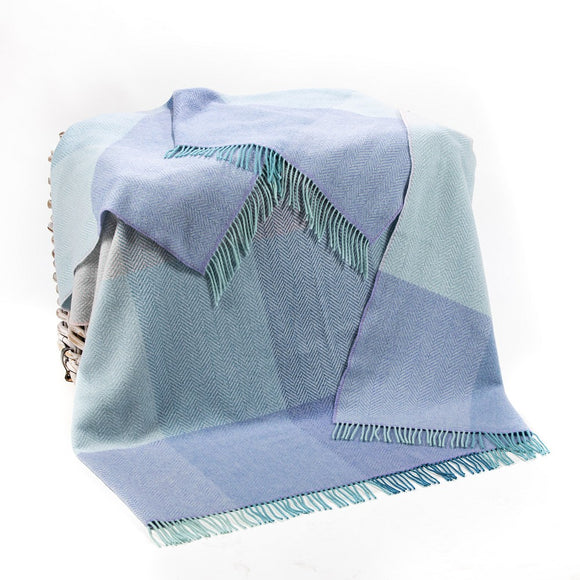 Duck Egg, Lilac & Teal Cashmere Throw