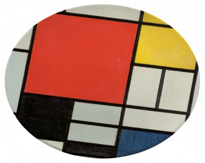 A round plate with a design of white, red, black, blue, yellow and grey squares and rectangles separated by black lines. There is one large red square.
