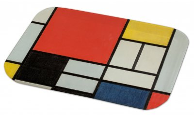 A rectangular tray with a design of white, red, black, blue, yellow and grey squares and rectangles separated by black lines. There is one large red square.