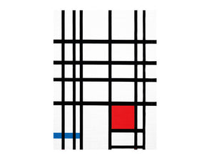 The cover is made up of many white squares and rectangles separated by black lines. There is one red square and one blue line.