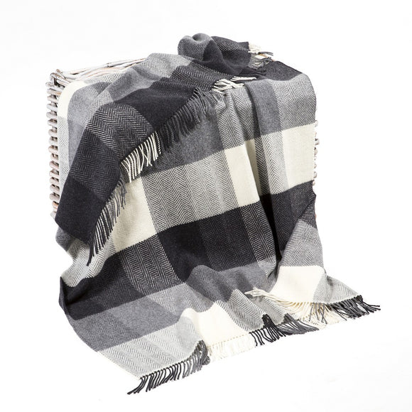 White and Grey Herringbone Cashmere Throw