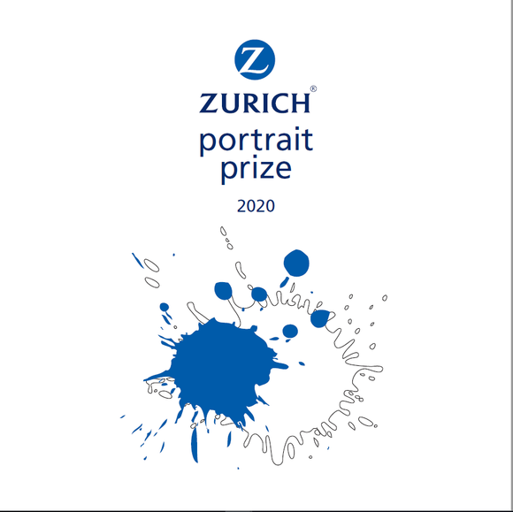 A white cover with a blue and white paint splat in the centre. 'Zurich Portrait Prize 2020' is at the top in blue.