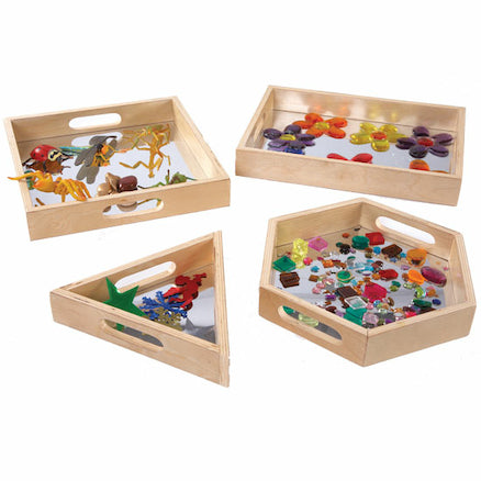 Wooden Mirror Trays 4pk