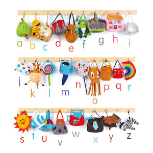 "Alice Sharp's language enrichment bags featuring letters ""A"" to ""Z""."