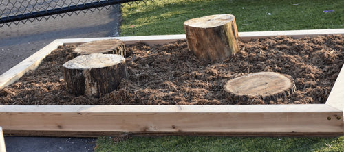 Set of four stumps variing in height in a bed os mulch