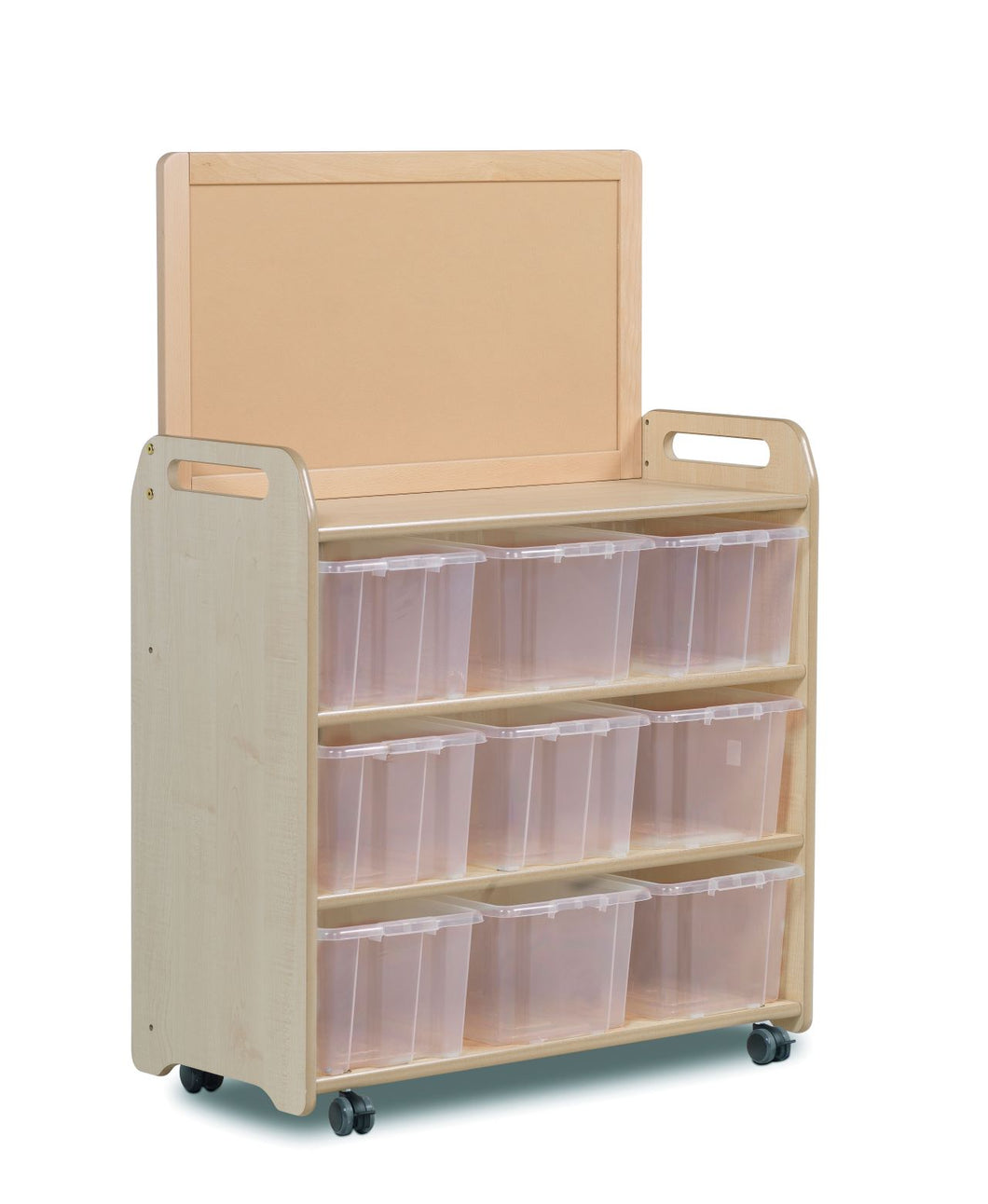 Mobile Extra Tall Unit with Display Back and 9 Clear Tubs plus Display Add on