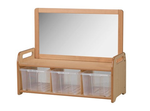 Low Mirror Storage Unit with 3 Baskets