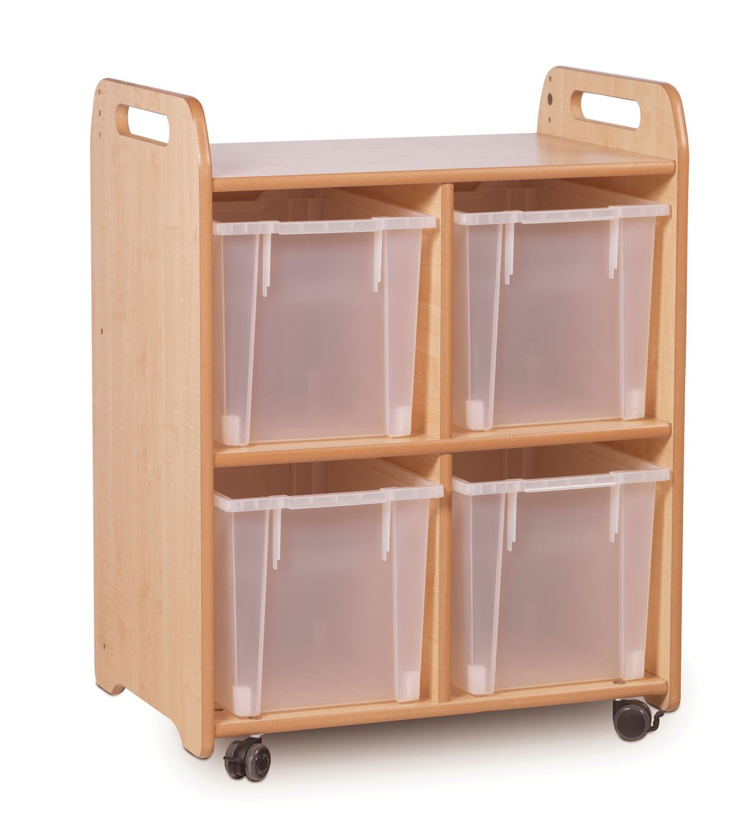 Lightly stained wooden storage unit with two 2 columns and four translucent trays.