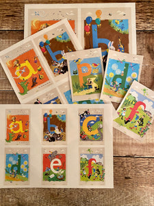 The alphabet rhyme time cards by Michelle Larbey.