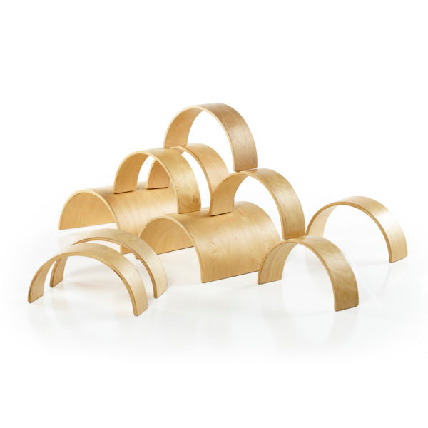 Set of 10 includes two wooden tunnels and 8 wooden arches.