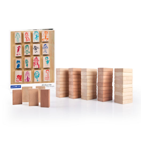 The full 50 pieces set of All About Me Block People are displayed.