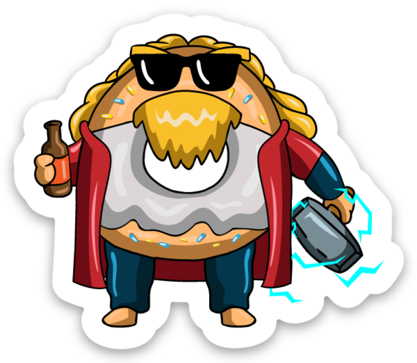 Drunk Thunder God Donut - Vinyl Sticker