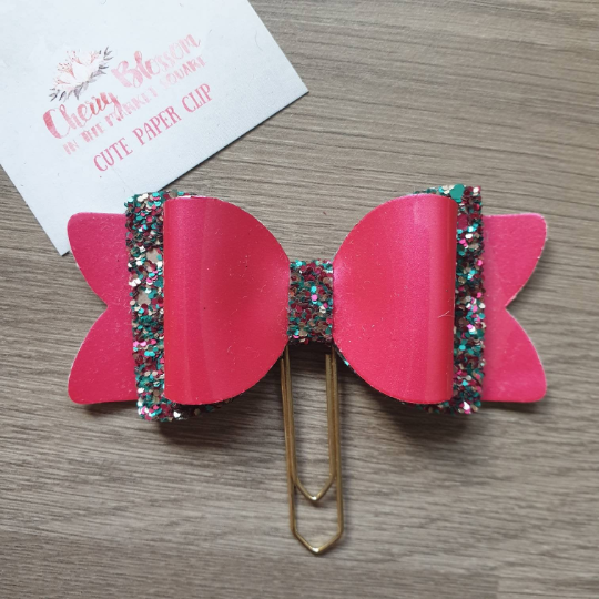 Large Magenta Pink and Mermaid Mix Glitter Bow Paper Clip