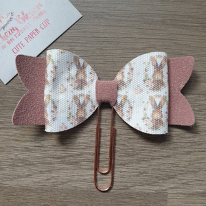***Seconds***  Large Rabbit and Pink Suede Bow Paper Clip