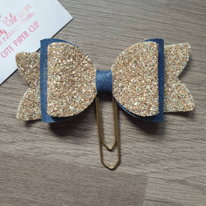Large Denim Blue and Gold Bow Paper Clip