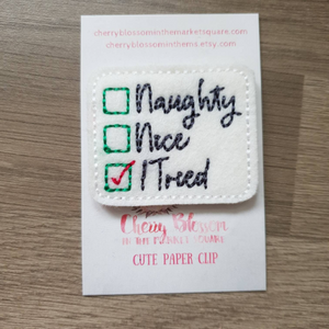 Naughty, Nice, I Tried Tick List Christmas Paper Clip