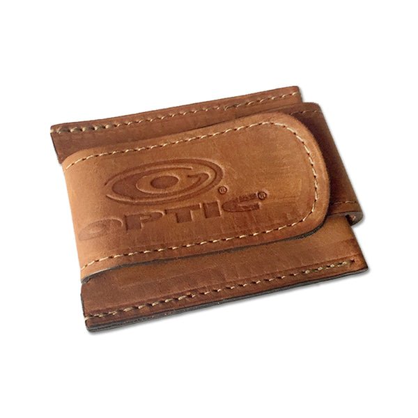 Optic Tan Leather Stitched Wallet Money Clip