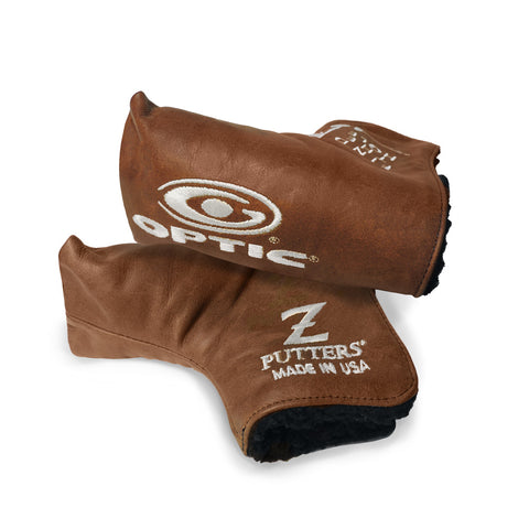 Leather Optic Z Headcover Brown Leather with White Embroidery