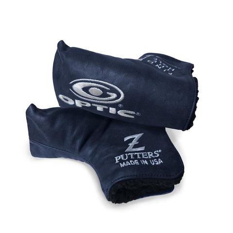 Leather Optic Z Headcover Navy Leather with White Embroidery