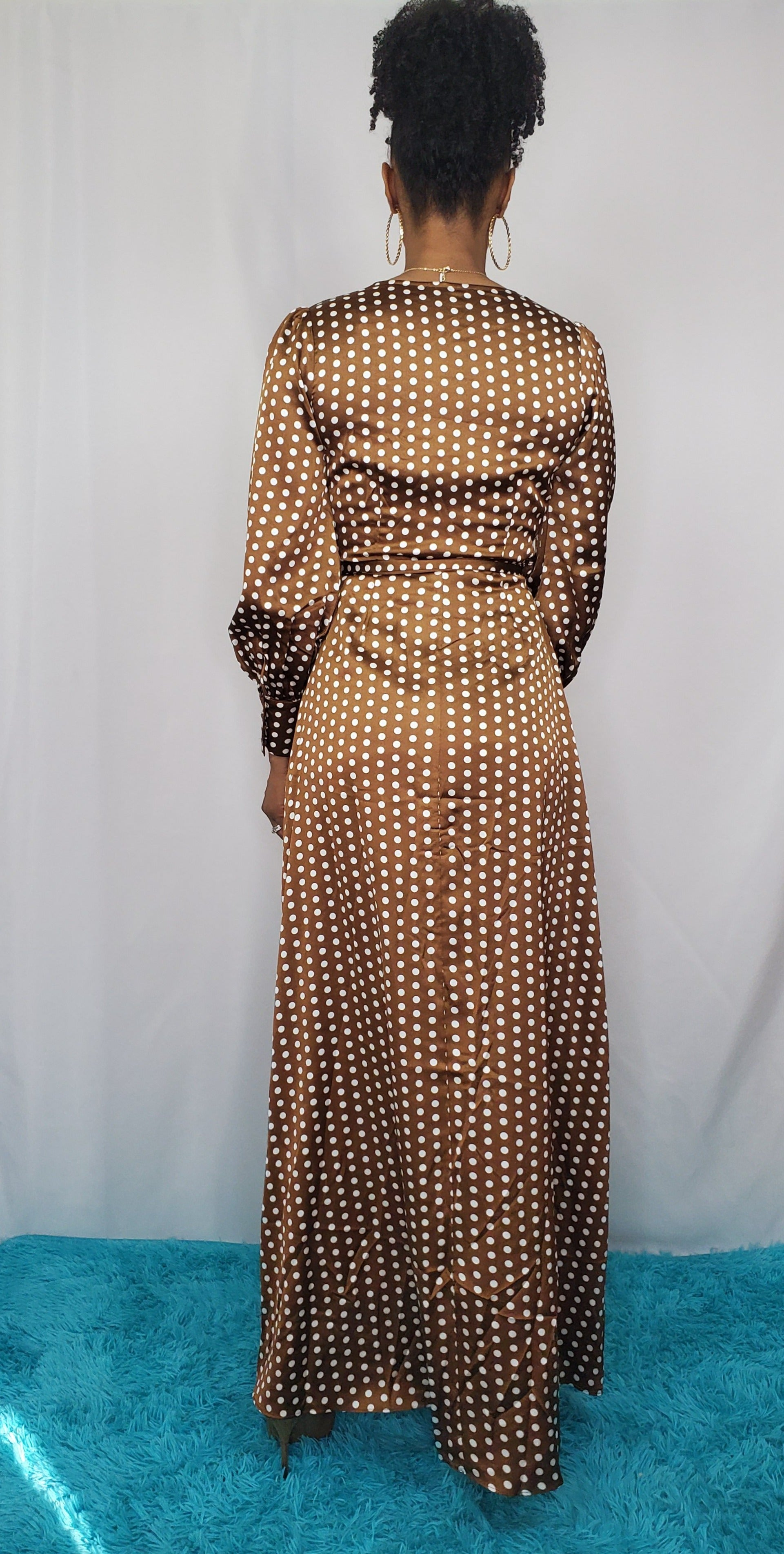 Brown Polka Dot Wrap Gown