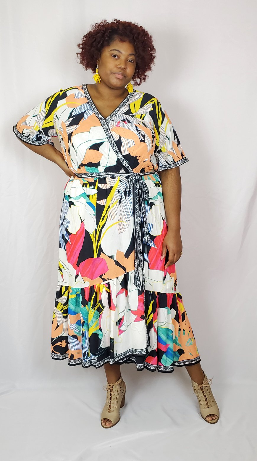 Mixed Print Maxi Dress