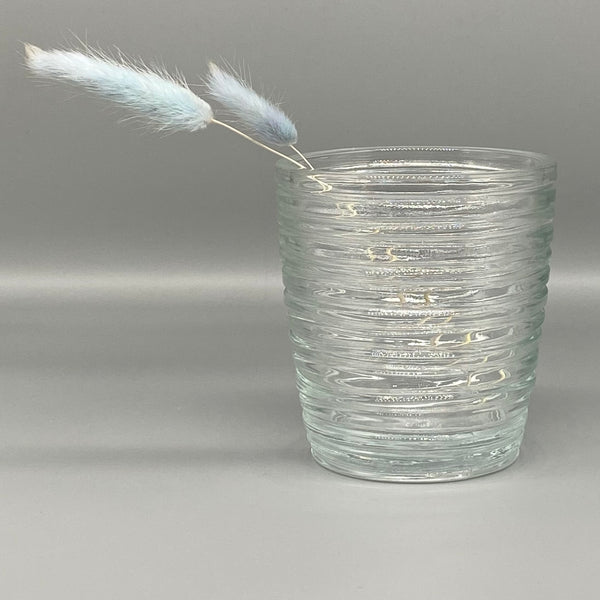 Small Clear Glass Ribbed Vase