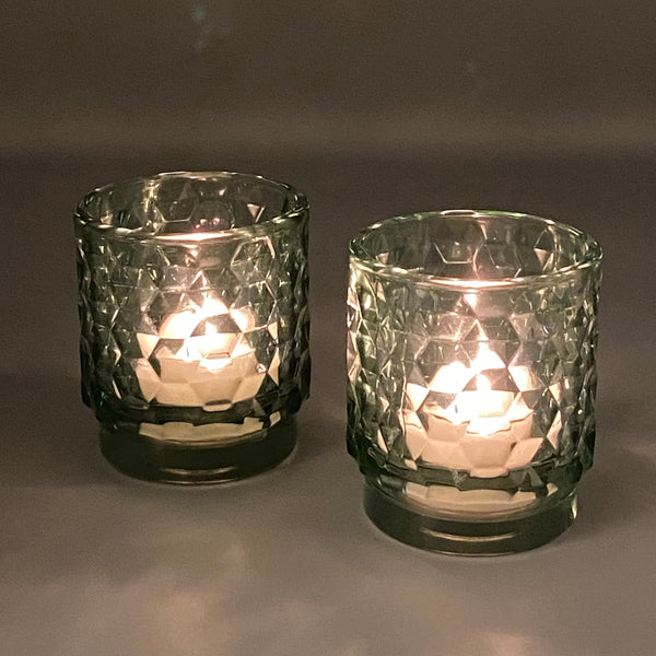 Cut Glass T-light Holders Green